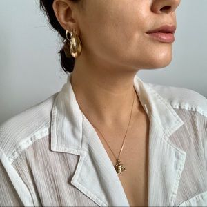 New Gold Thick Hoop Earrings